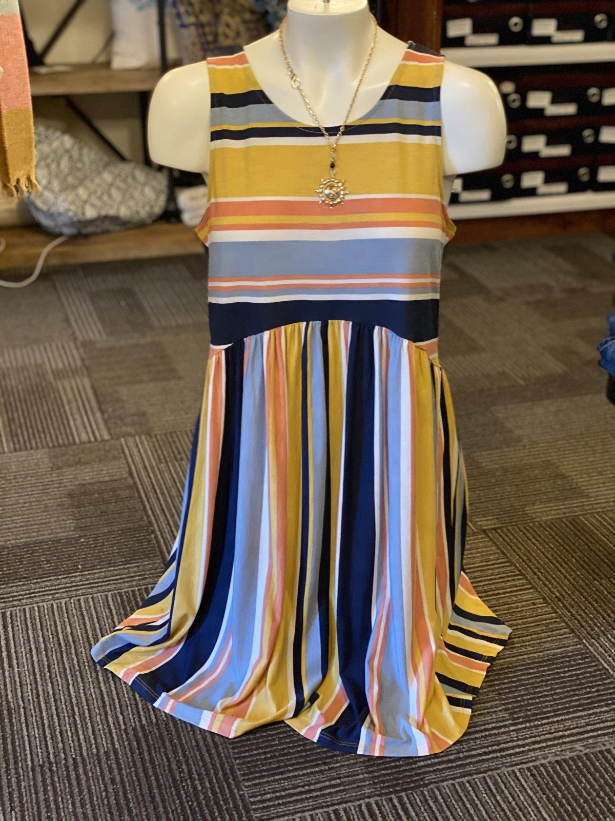 STRIPE MUSTARD DRESS