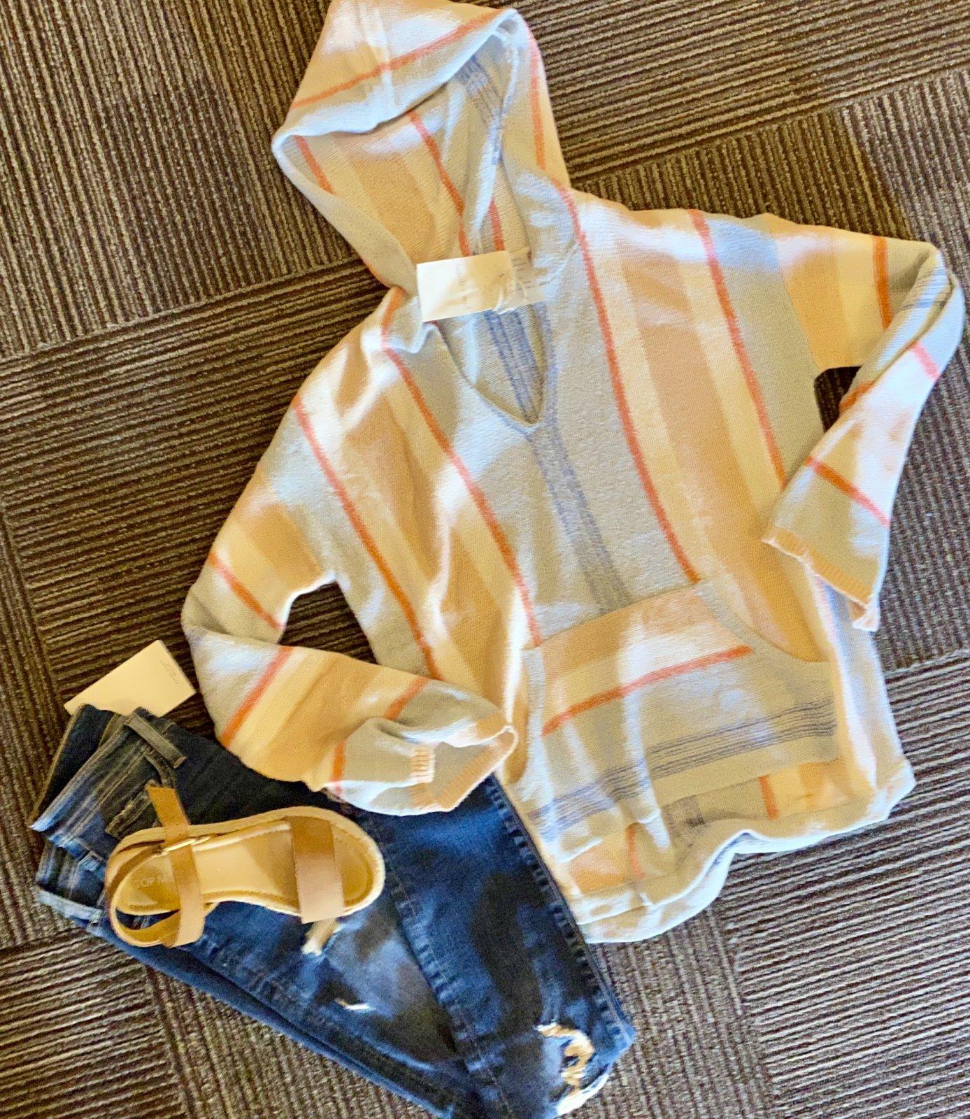 hem & thread blue/peach stripe hoodie