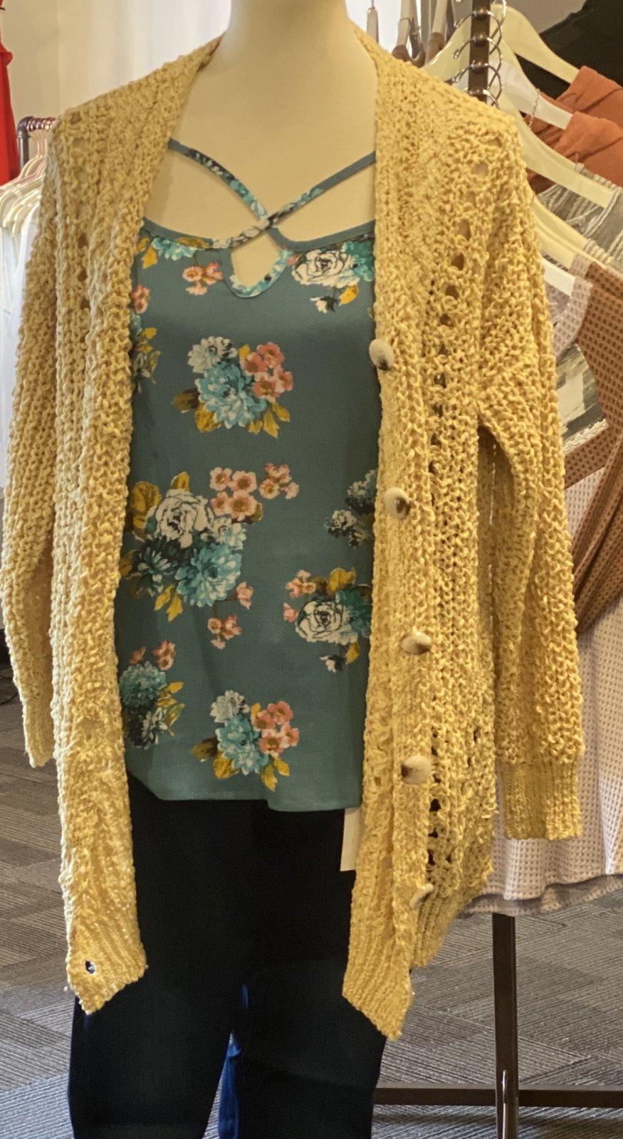 chunky open knit cardi yellow