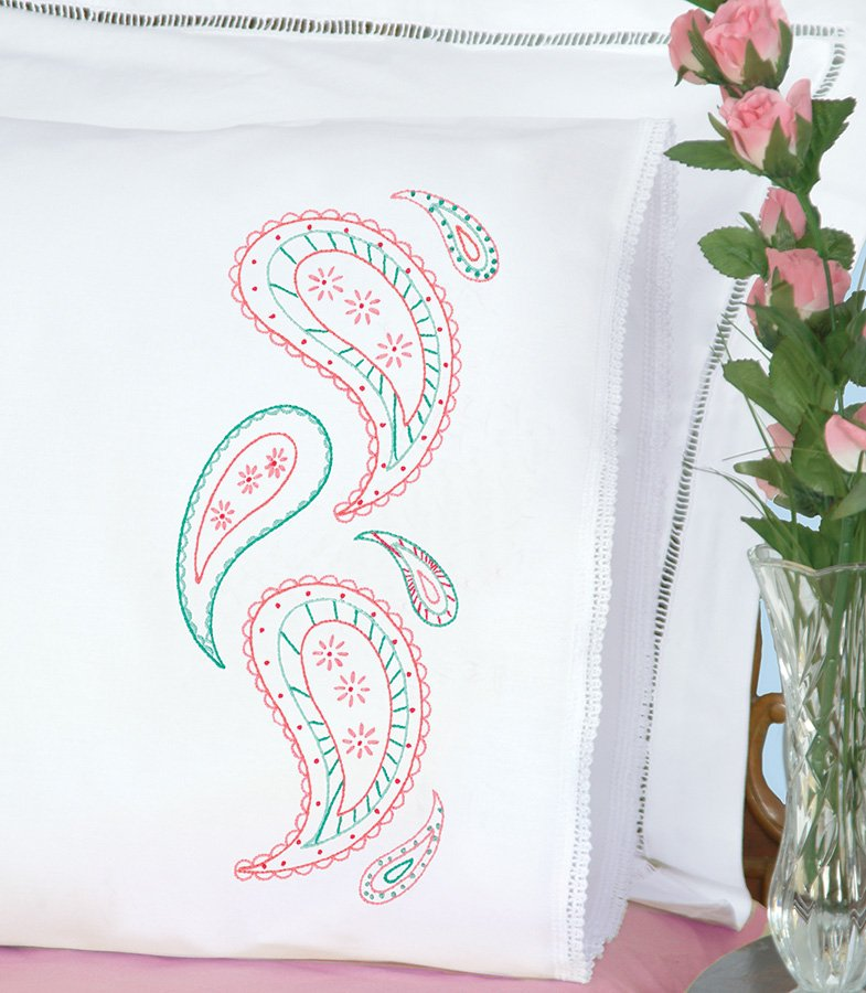 1800-PILLOWCASE WITH LACE EDGE (1 pair)-0719