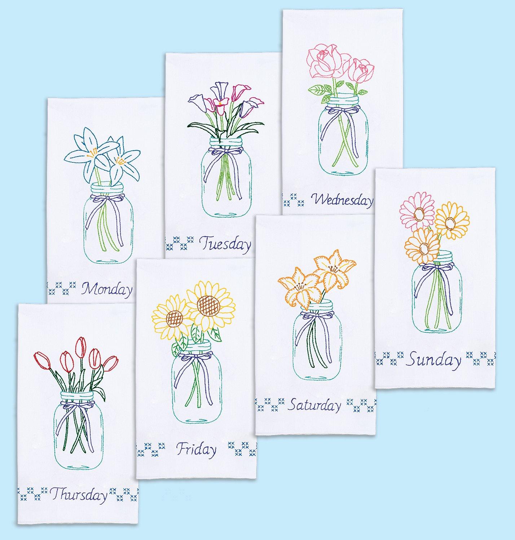 0340-DECORATIVE HAND TOWEL SET 7 Ct (17 x 28)- 664 Mason Jar Bouquets