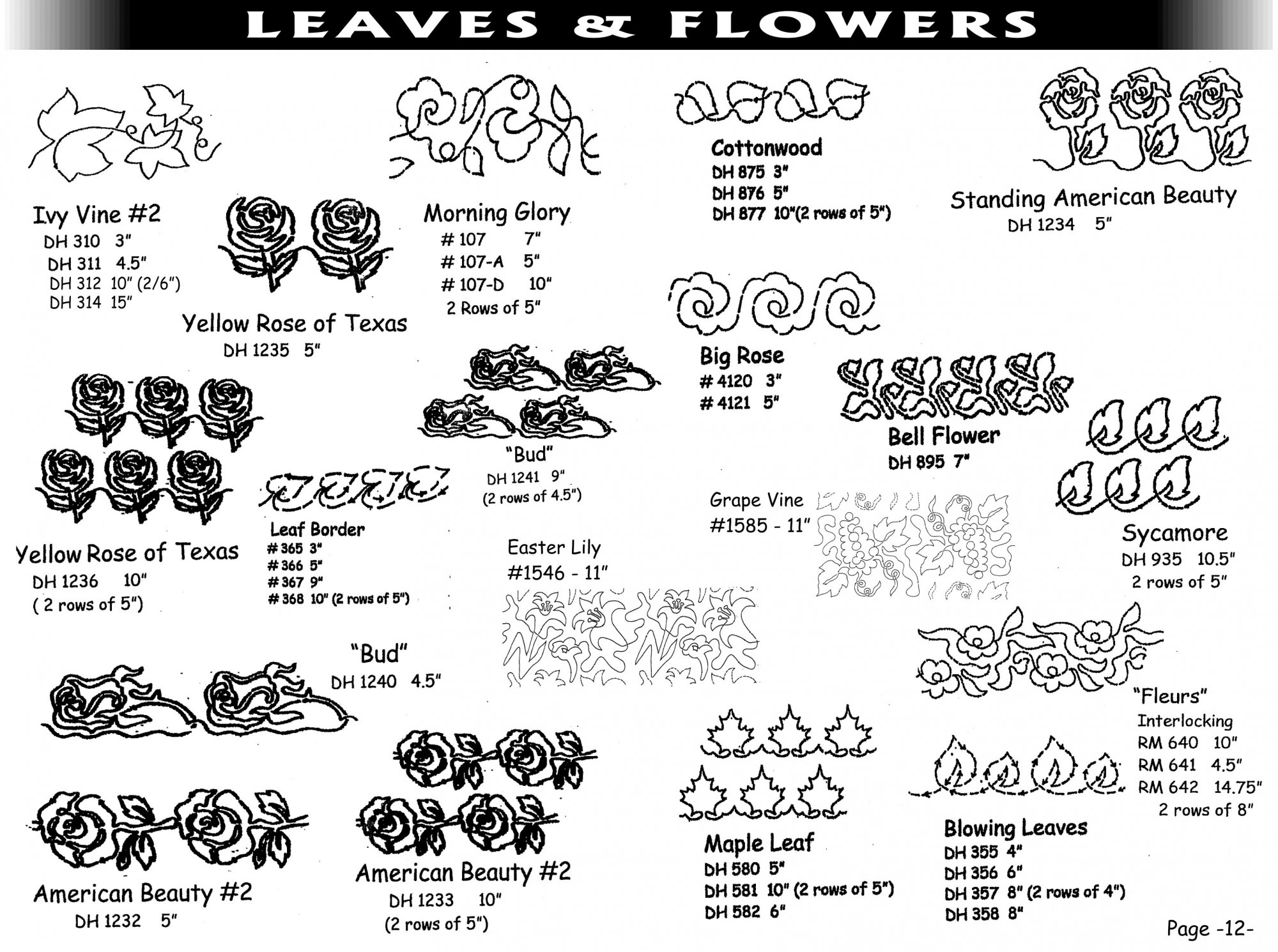 Pantographs-Leaves&Flowers-A- 6 1/2 -12
