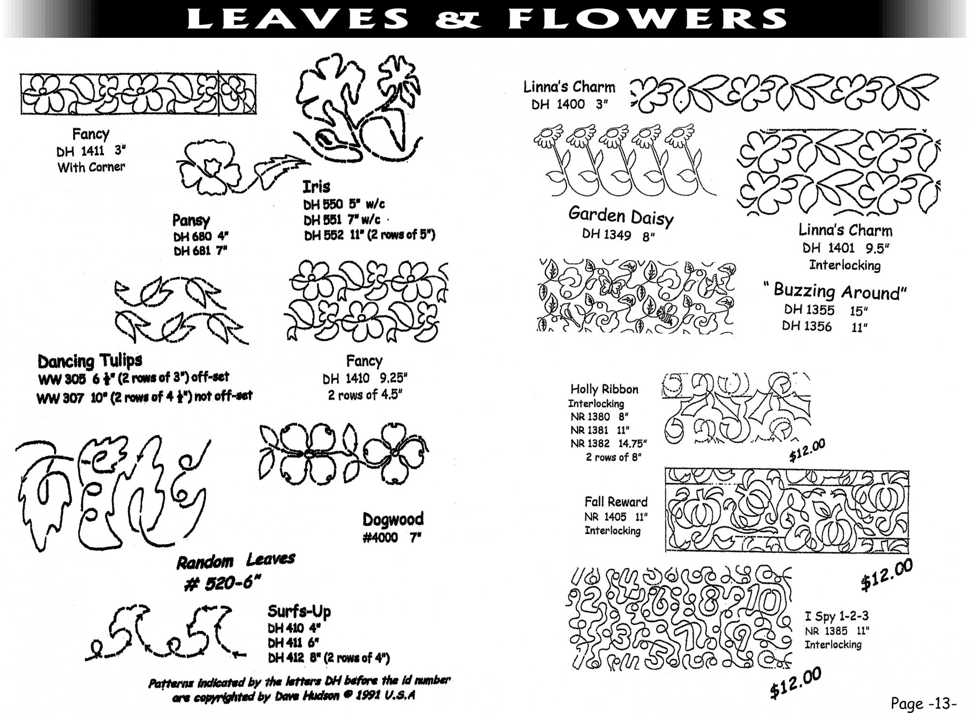 Pantographs-Leaves&Flowers-B- 6 1/2-12