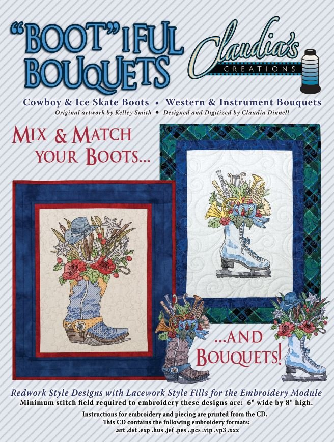 Bootiful Bouquets Cowboy & Ice Skate by Claudia's Creations