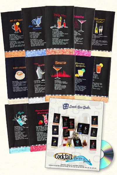 Cocktail Recipe Towels-Machine Embroidery
