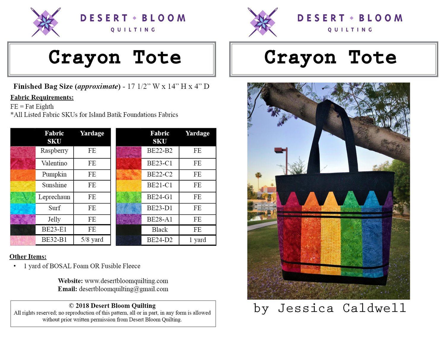 Crayon Tote by Desert Bloom Quilting