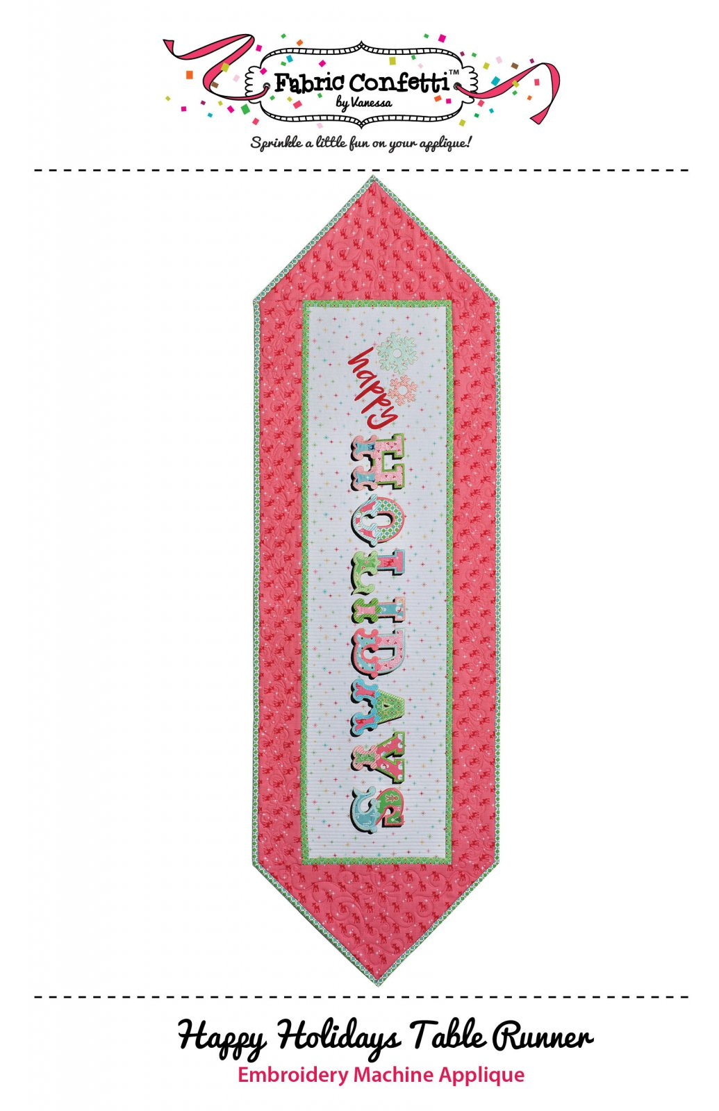 Happy Holidays Table Runner for Machine Embroidery