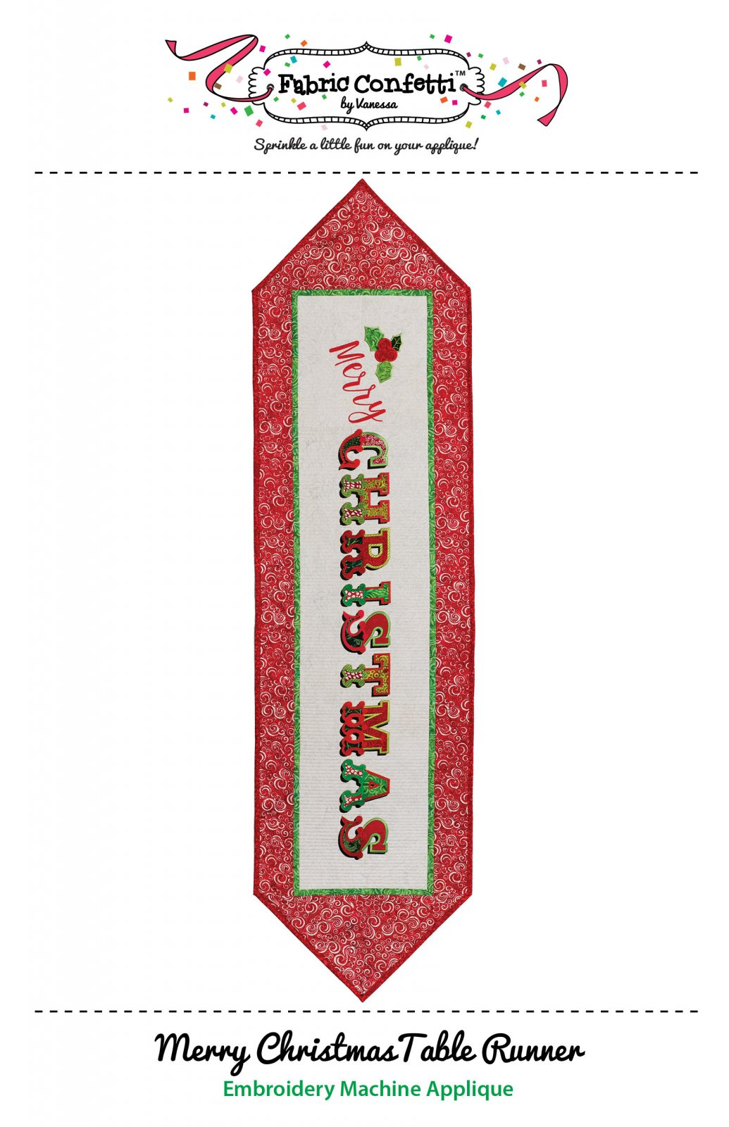 Merry Christmas Table Runner for Machine Embroidery