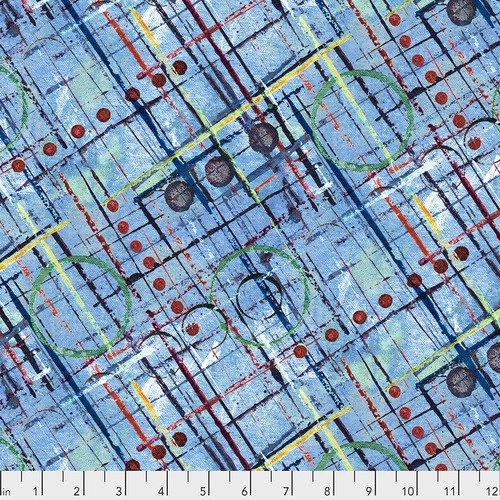 Color Labyrinth by Free Spirit Trellis Blue