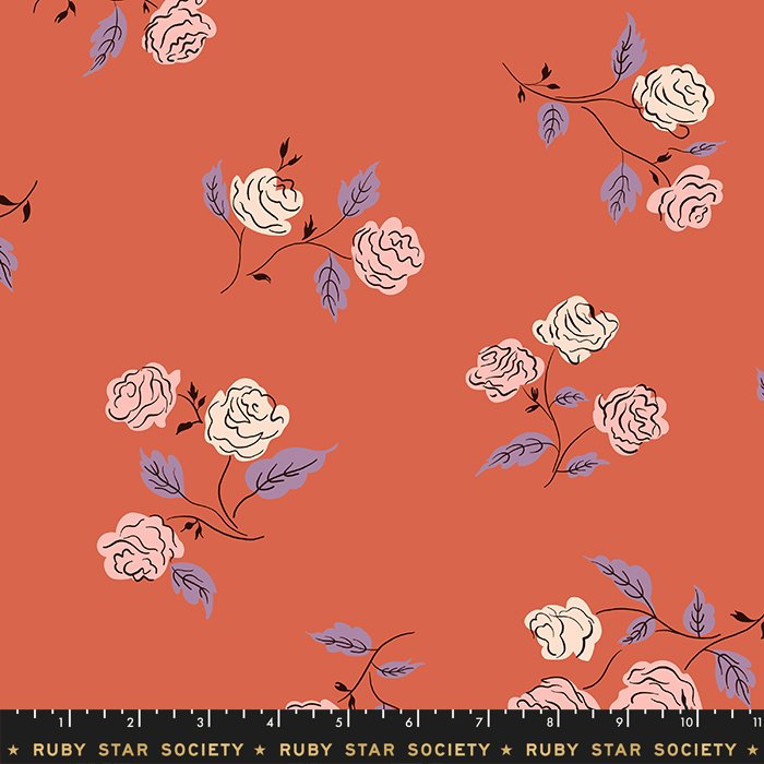 Ruby Star Society by Moda Rayon Steno Roses Coral