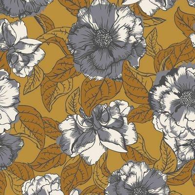 Avalana Viscose-Woven Big grey Roses on Ochre