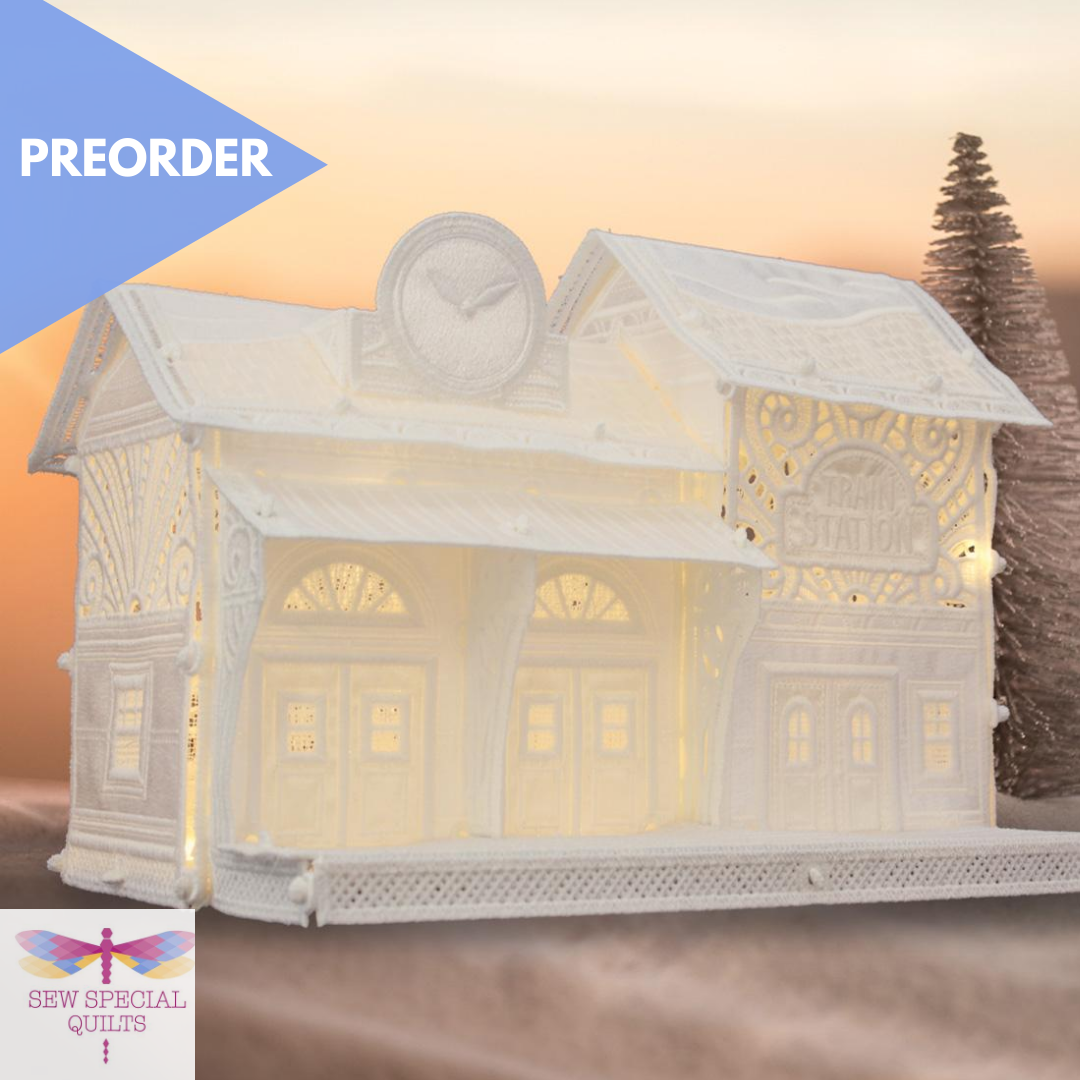 FREE STANDING CHRISTMAS VILLAGE TRAIN STATION BY OESD