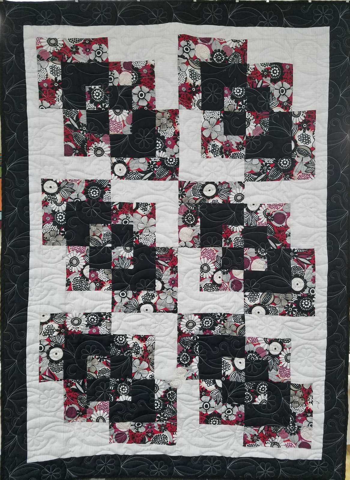 Black, Red, Gray, Floral