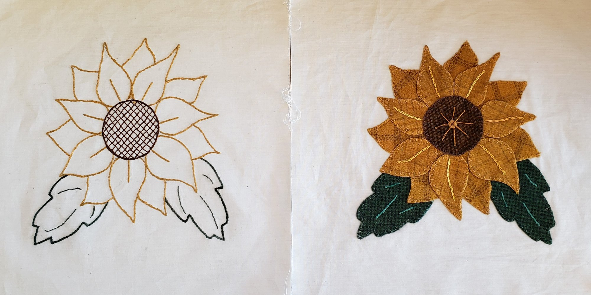 Fall Under the spell Block 2 Sunflower Hand Embroidery/Hand Applique Pattern