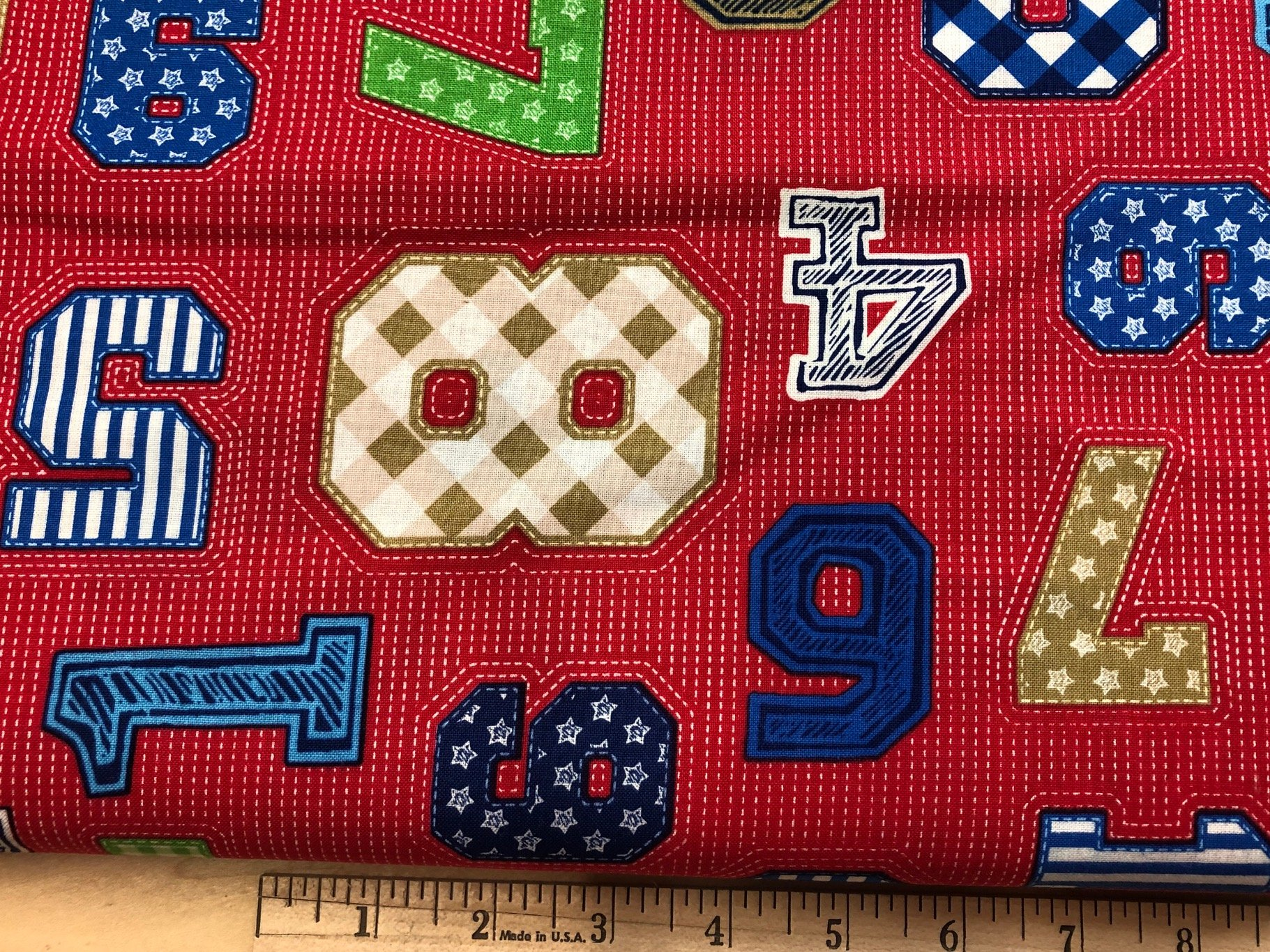 4 yard cut Numbers on Red - 22785-R