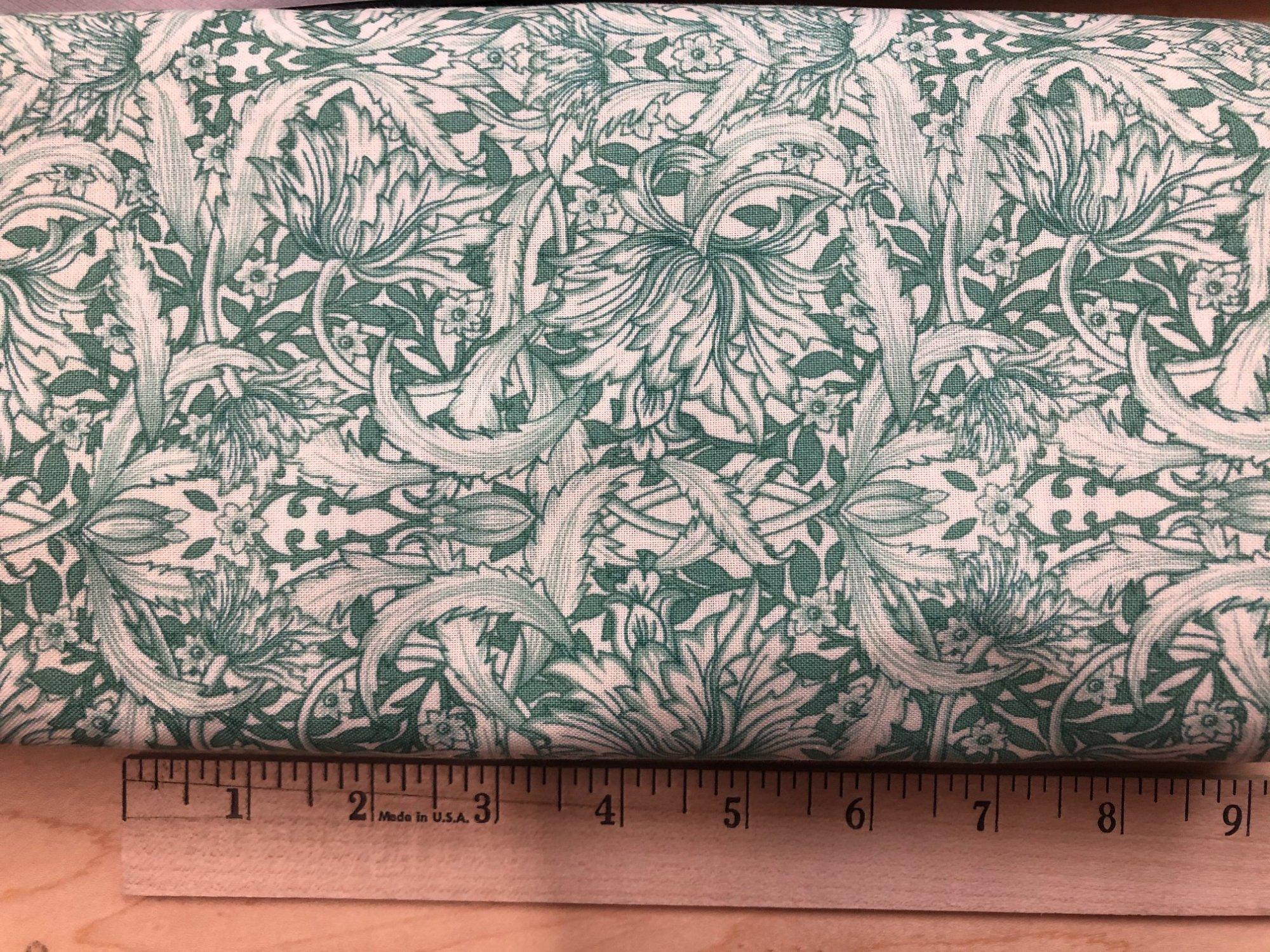 4 yard fabric cut - Green leaf print