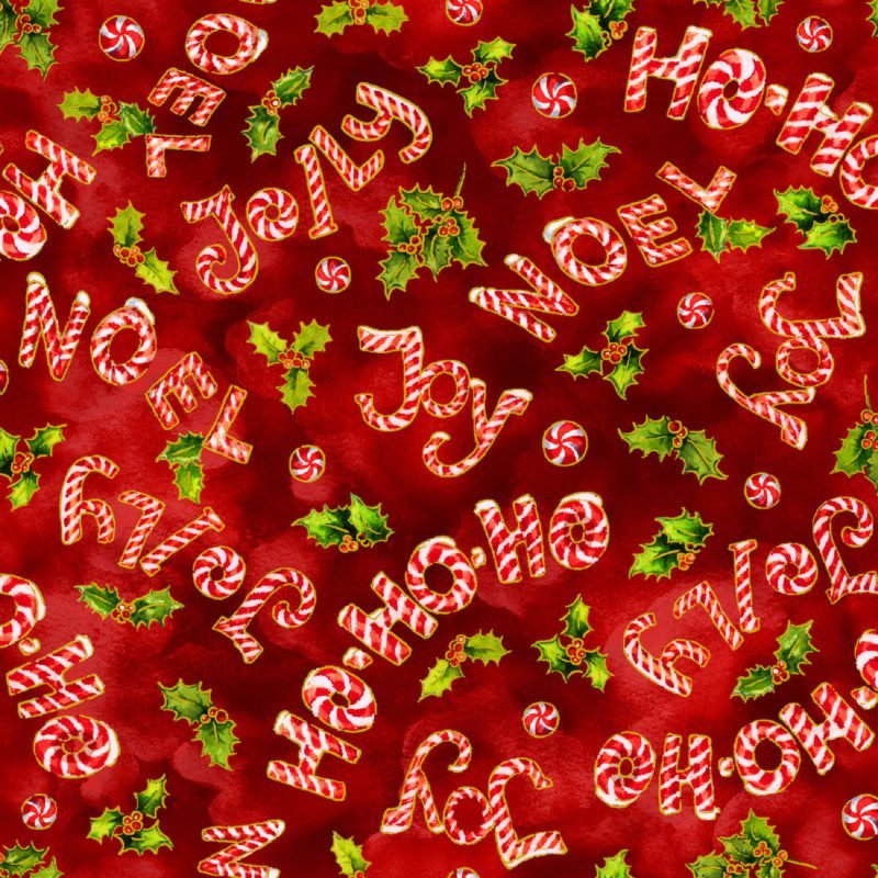 Noel Candy Canes Words Red - 593763