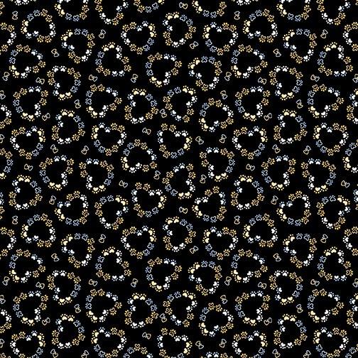 Kitty City - Heart Paw Prints - Black 12470 12
