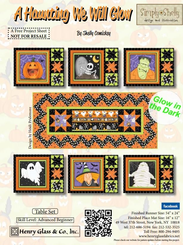 Free Pattern - A Haunting we will Glow - Table Set - by Henry Glass