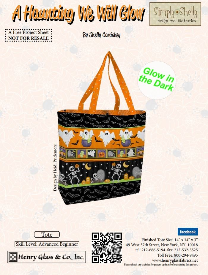 Free Pattern - A Haunting We will Glow Tote Pattern - by Henry Glass