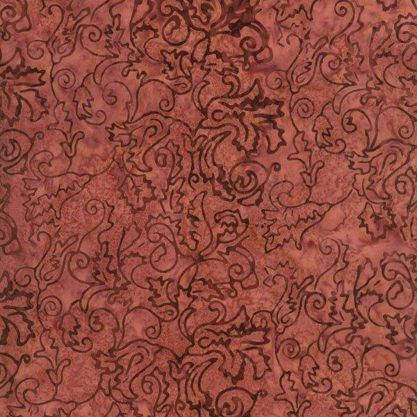 RJR Jinny Beyer Malam Batik Mauve Pink with Brown Leaves and Swirls