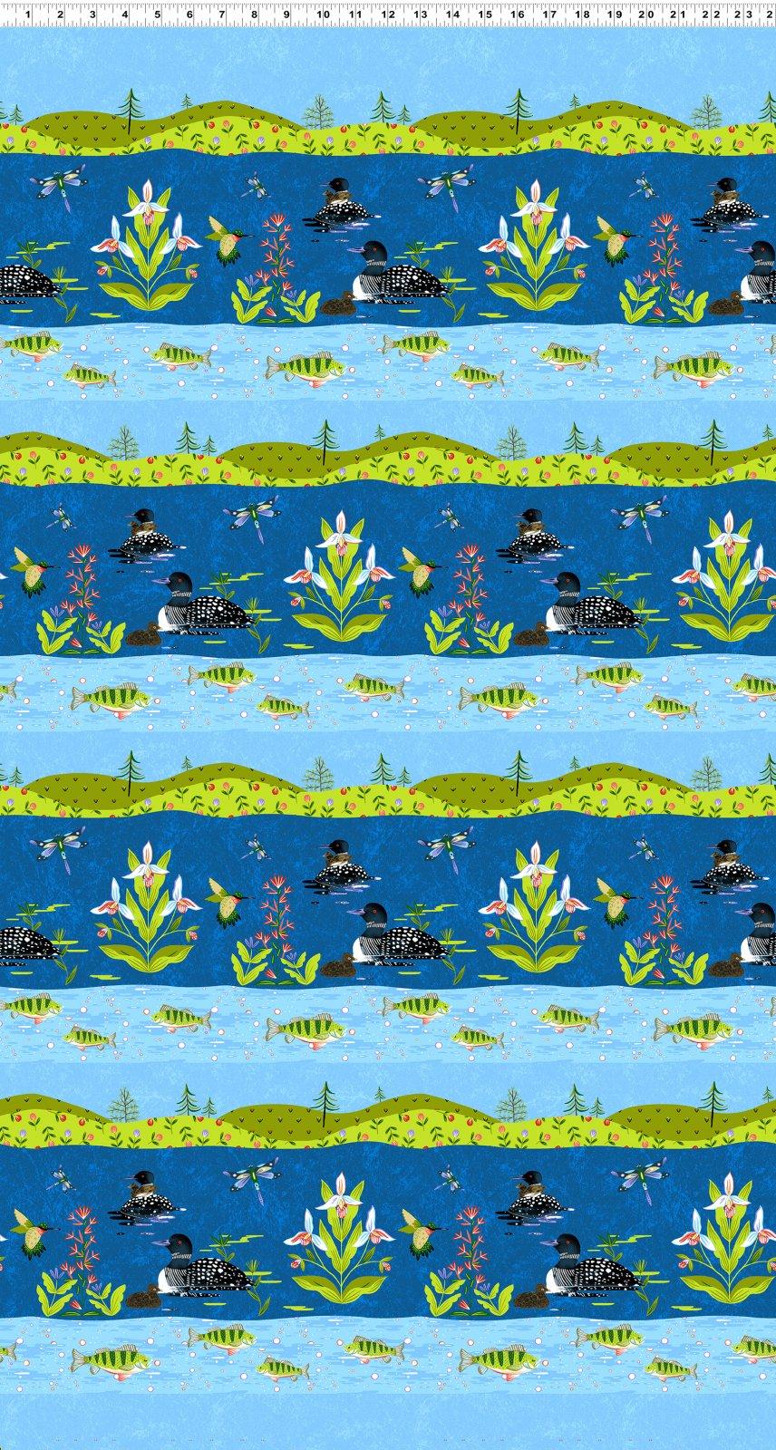 Quilt Minnesota Shop Hop 2020 - Pictoral Stripe Royal Blue