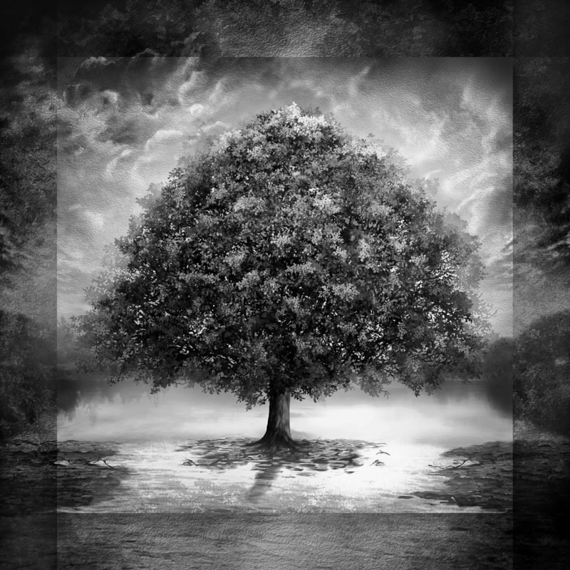 Tree of Life Panel - Grey Tonal