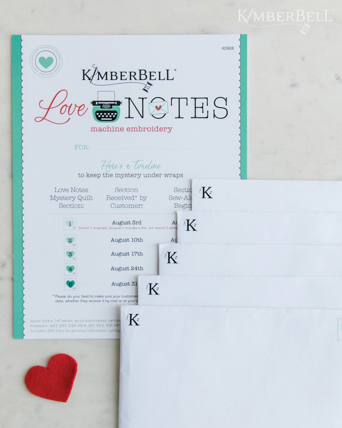 Kimberbell Love Notes - Embroidery