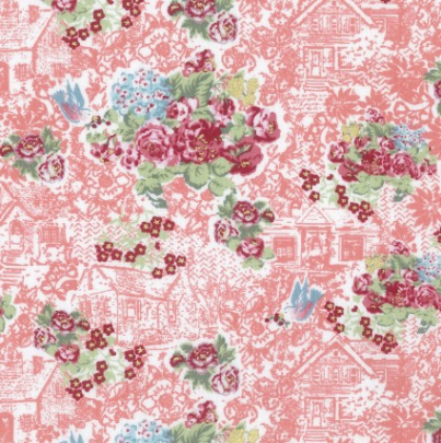 Loyal Heights - Metallic Strawberry Floral Cottage 4 Yard Mini Bolt