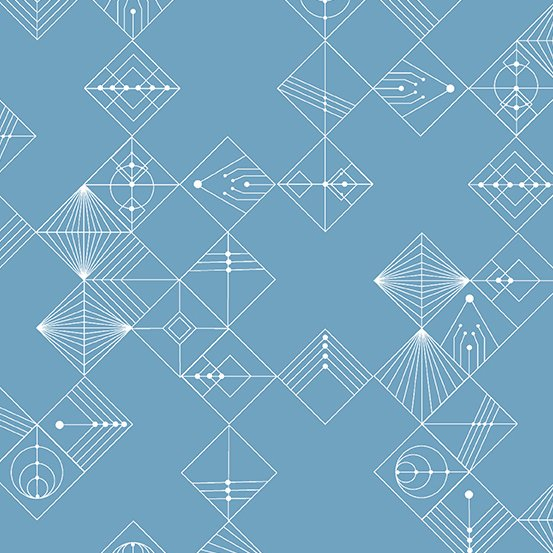 Century Prints Deco by Giucy Giuce for Andover Fabrics - ChambrayBlue