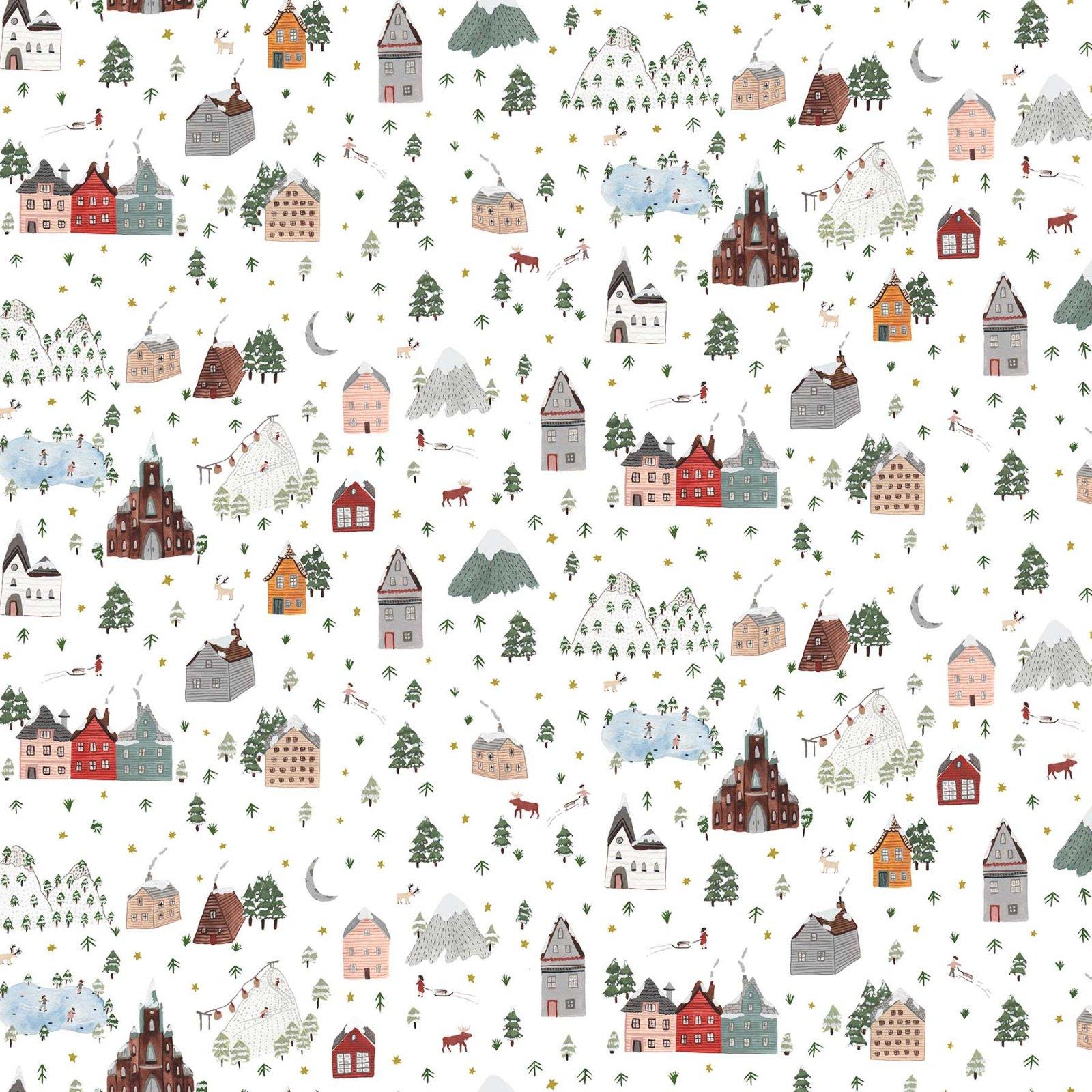 Winter Frost by Boccaccini Meadows for Figo Fabrics - Winter Landscape - White Multi