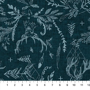 Forest Fable Navy Stags for Figo Fabrics