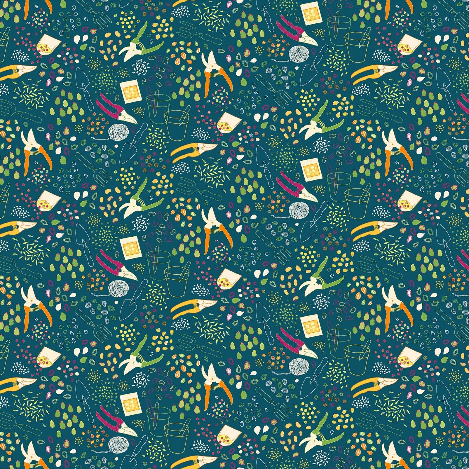 Grow by Pippa Shaw for Figo Fabrics - Sow -  Teal