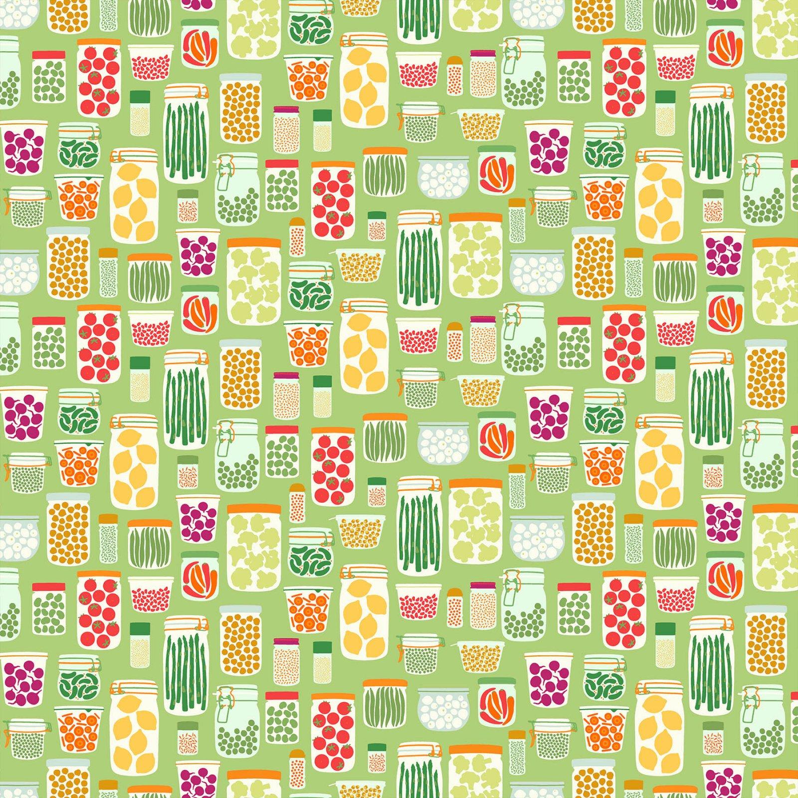 Grow by Pippa Shaw for Figo Fabrics - Jars - Green Multi