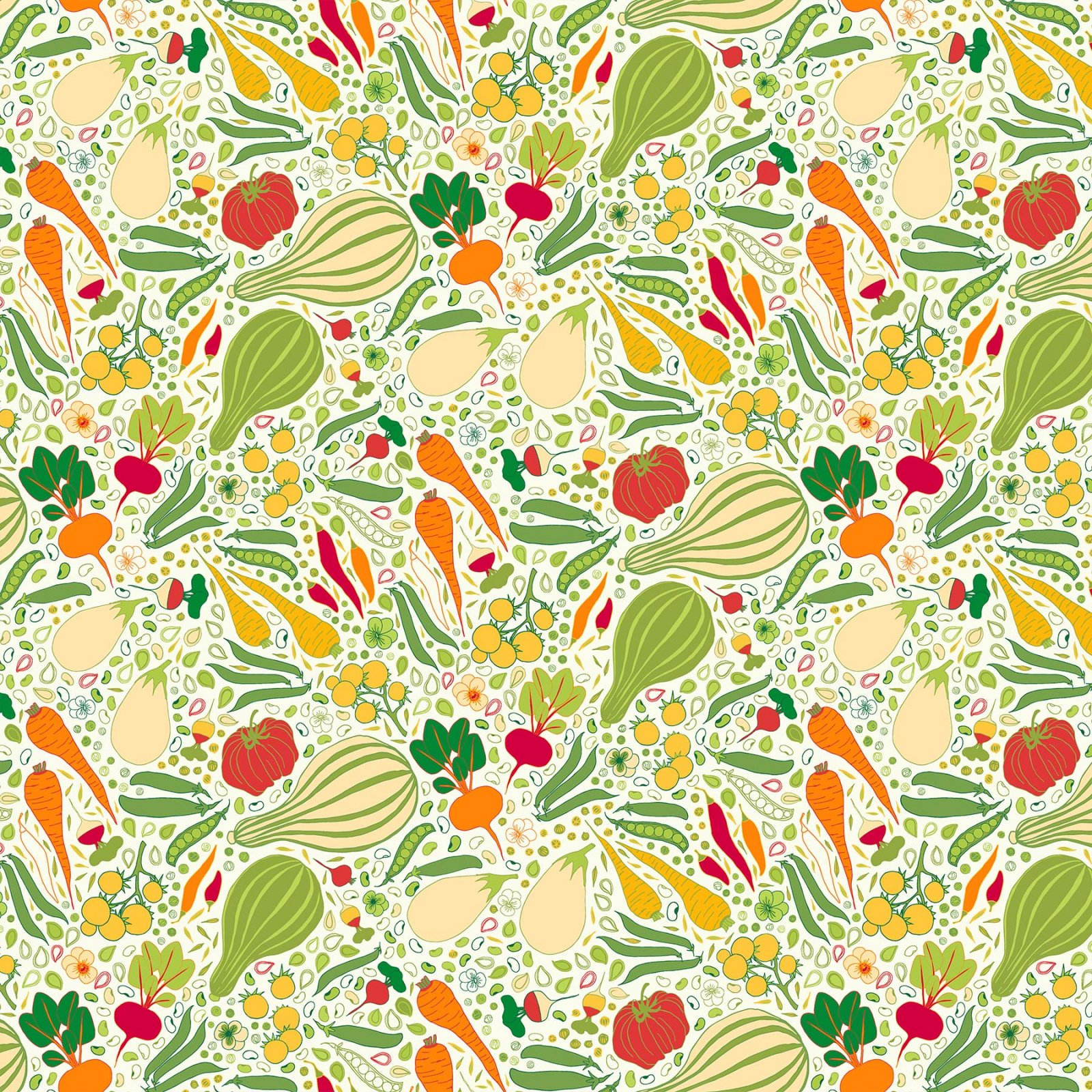 Grow by Pippa Shaw for Figo Fabrics - Vegetables - Beige Multi