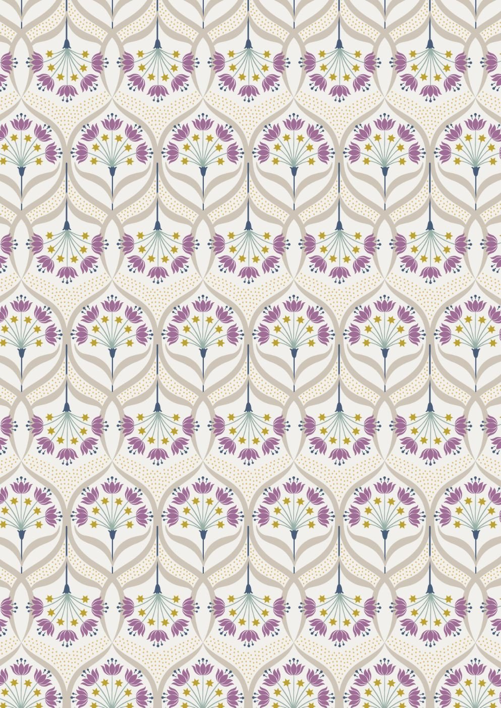 Jardin de Lis by Lewis & Irene - Star Floral on Cream with Gold Metallic