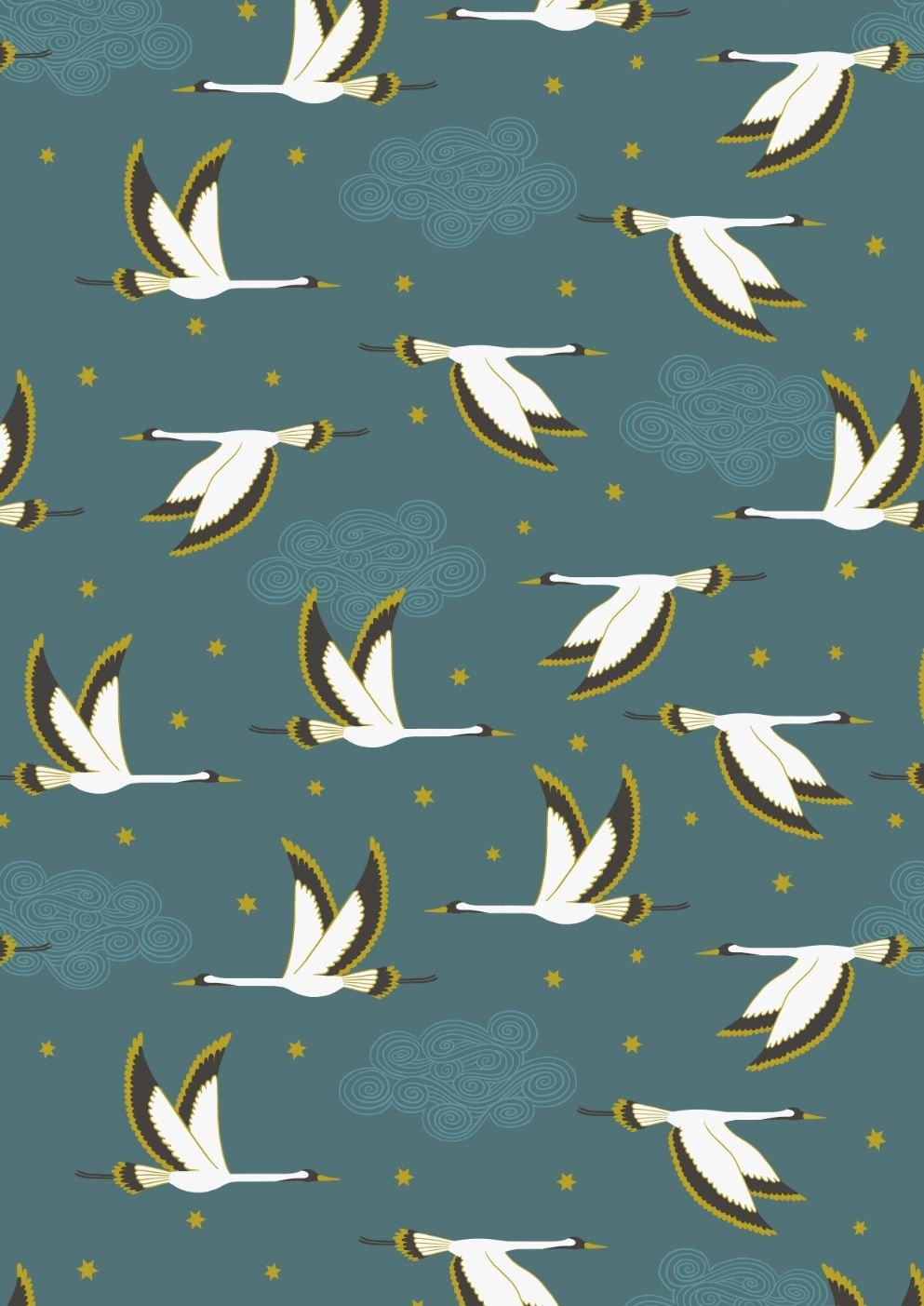 Jardin de Lis by Lewis & Irene - Flying Heron on Jade with Gold Metallic