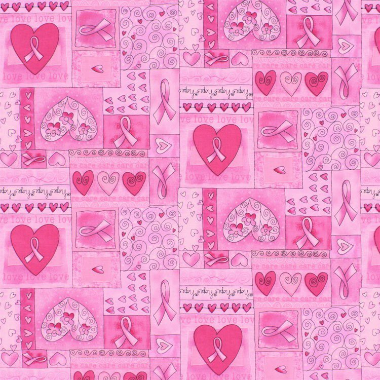 Pink Ribbon by Gail Cadden for Timeless Treasures - Breast Cancer Words