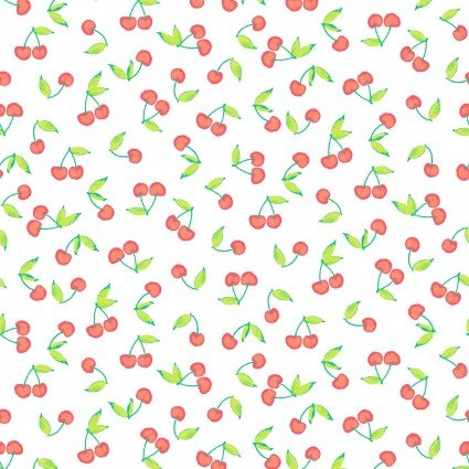 A Beautiful Day - Clothworks - Cherries - White