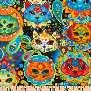 Day of the Dead Pets Bright Cat Sugar by Timeless Treasures