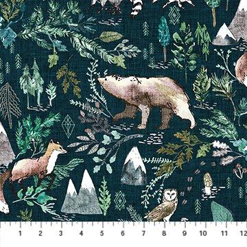 Forest Fable Navy Multi Woodland for Figo Fabrics