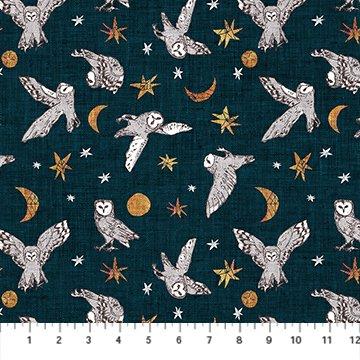 Forest Fable Navy Owls for Figo Fabrics