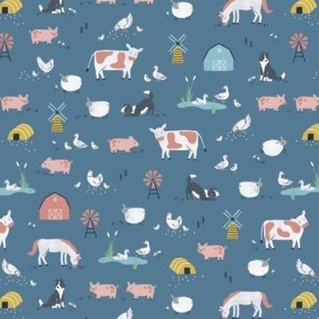 Farm Days by Kate Jones for Dashwood Studio - Farm Scene in Blue