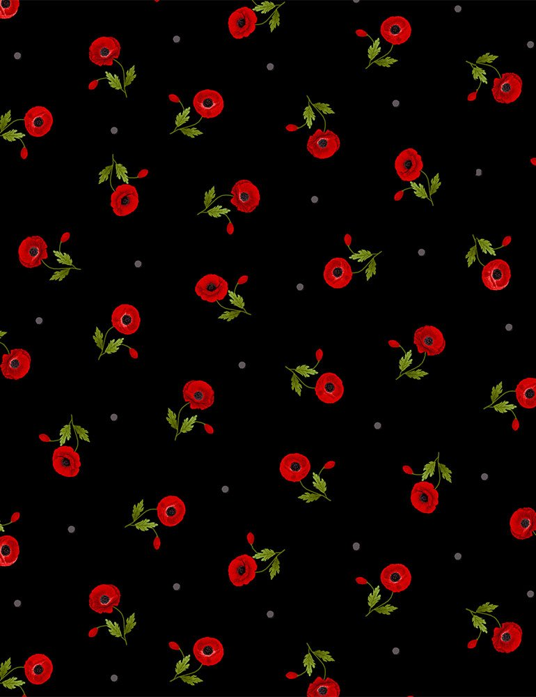 Wild Poppy by Timeless Treasures - Tossed Small Red Poppies - Black
