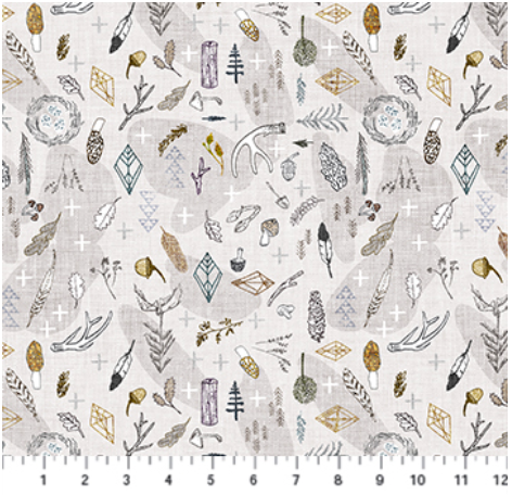 Forest Fable Taupe Multi Branches by Figo Fabrics