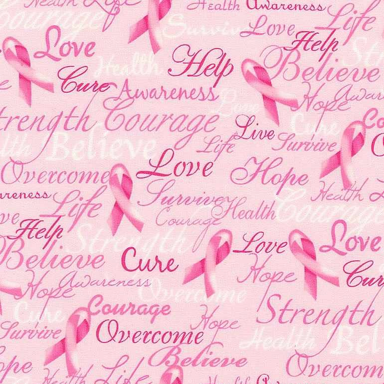 Pink Ribbon by Gail Cadden for Timeless Treasures - Breast Cancer Ribbons