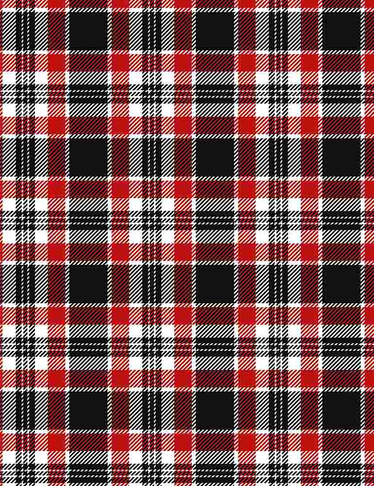 Silent Night by Timeless Treasures - Holiday Plaid - Red