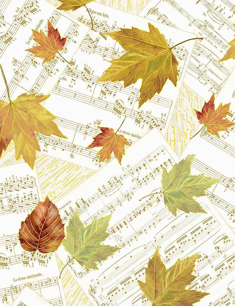 Autumn Symphony by Timeless Treasures - Falling Autumn Leaves on Music Notes - Cream
