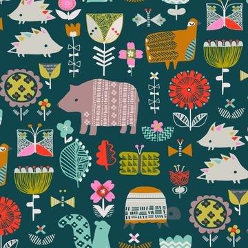 Hibernate by Stephanie Thannhauser for Dashwood Studios - Animals on Teal
