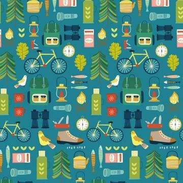 Hobbies by Sally Payne for Dashwood Studio - Camping in Teal